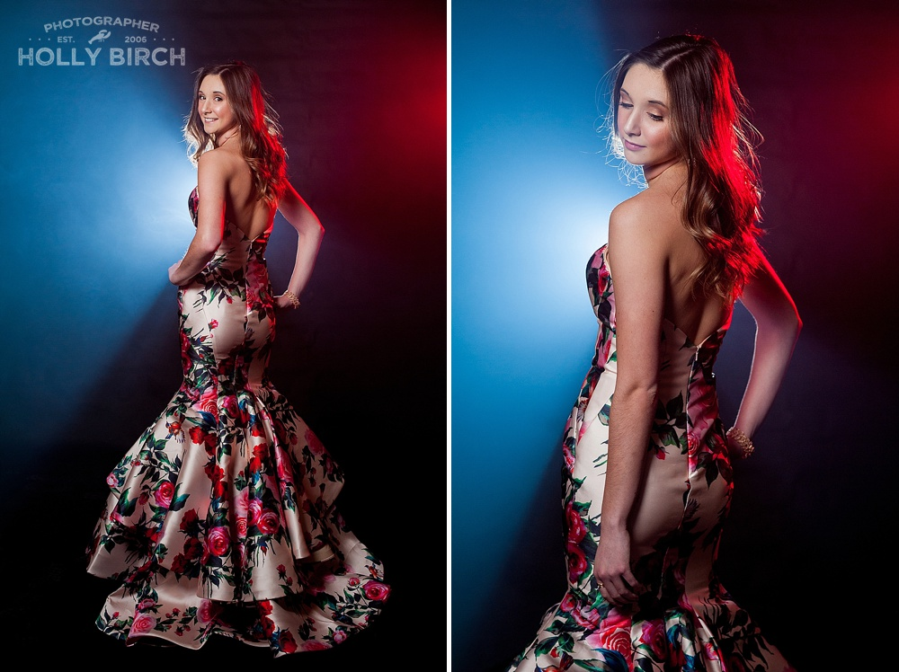senior girl high fashion prom dress photo shoot