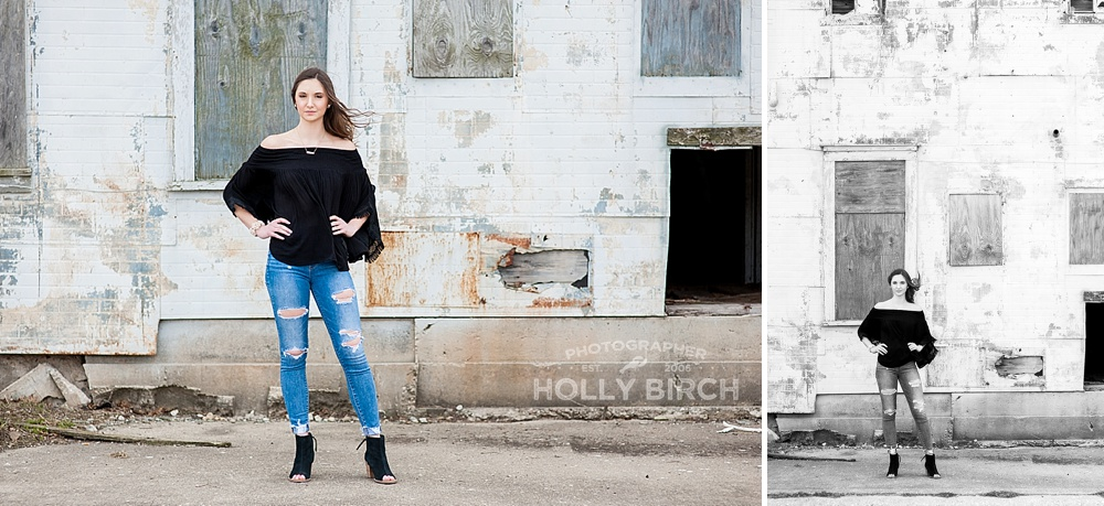 grungy abandoned warehouse senior session