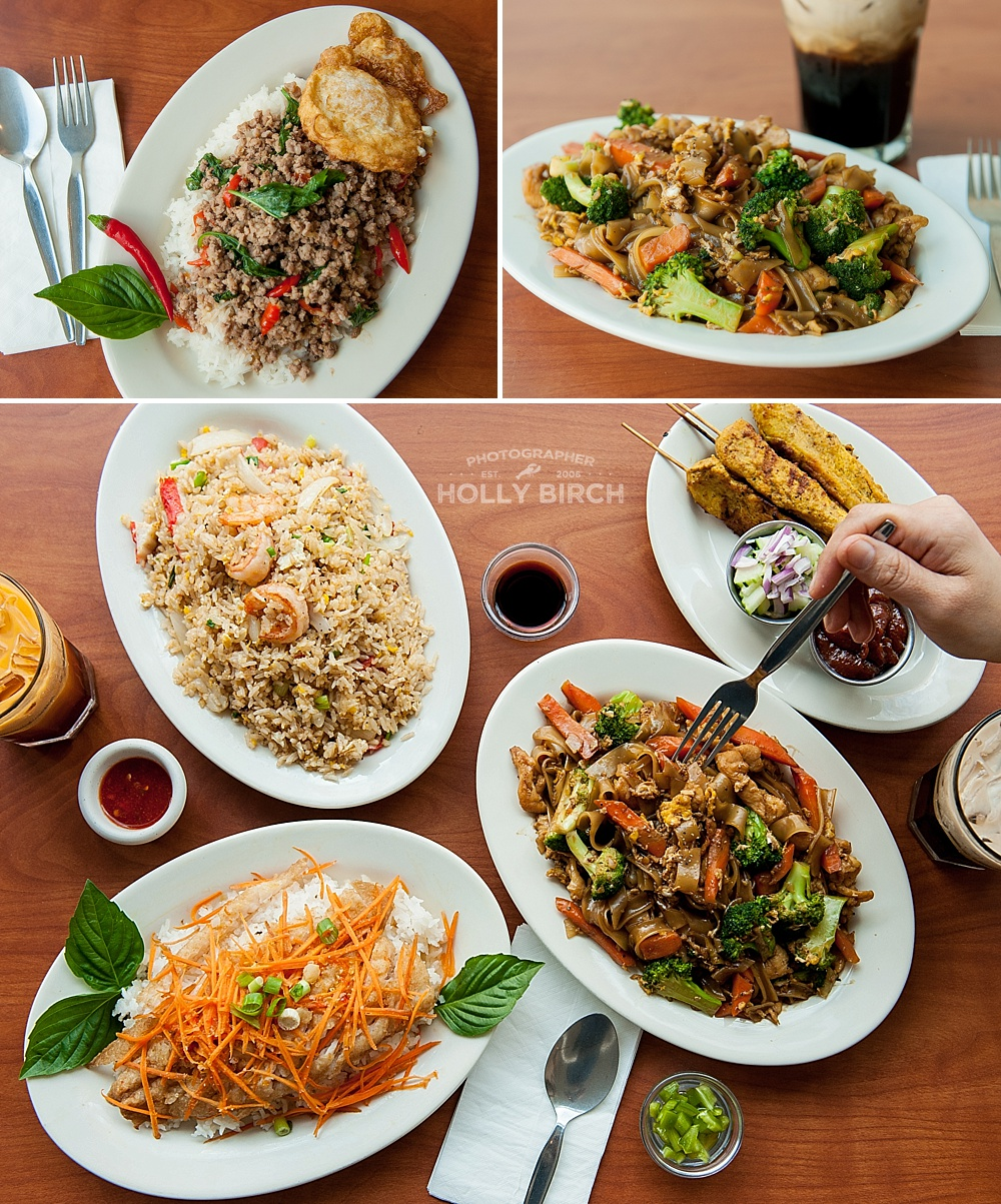 Variety of Thai foods from Basil Thai in Urbana