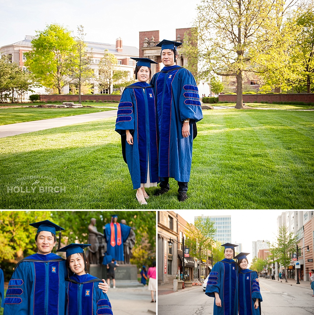 Alma Mater graduation photos on green street