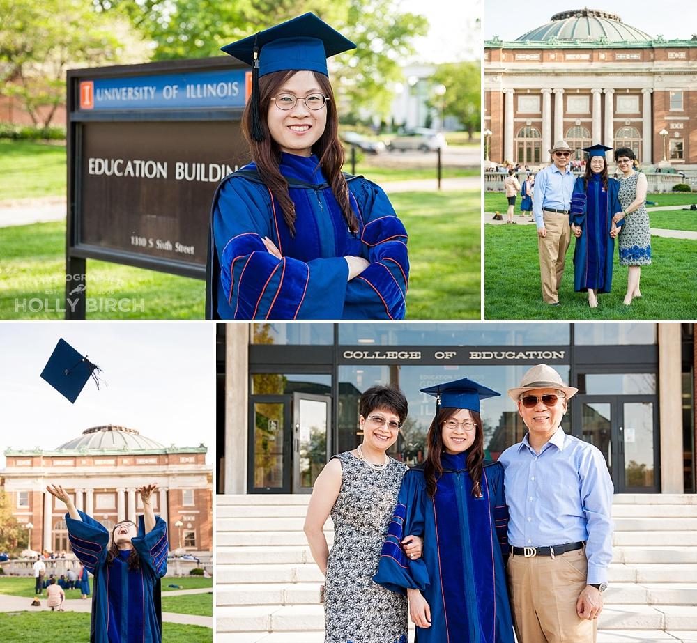 grad pictures on the Quad with Foellinger Auditorium