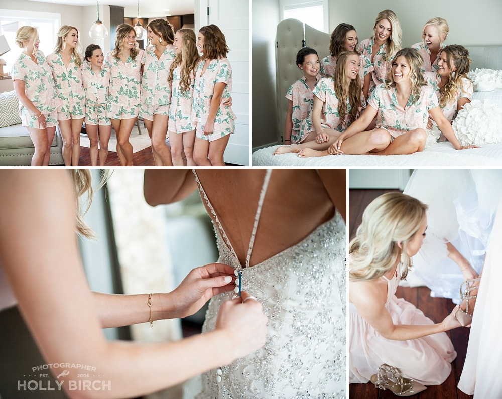 bridesmaids in matching floral pajamas