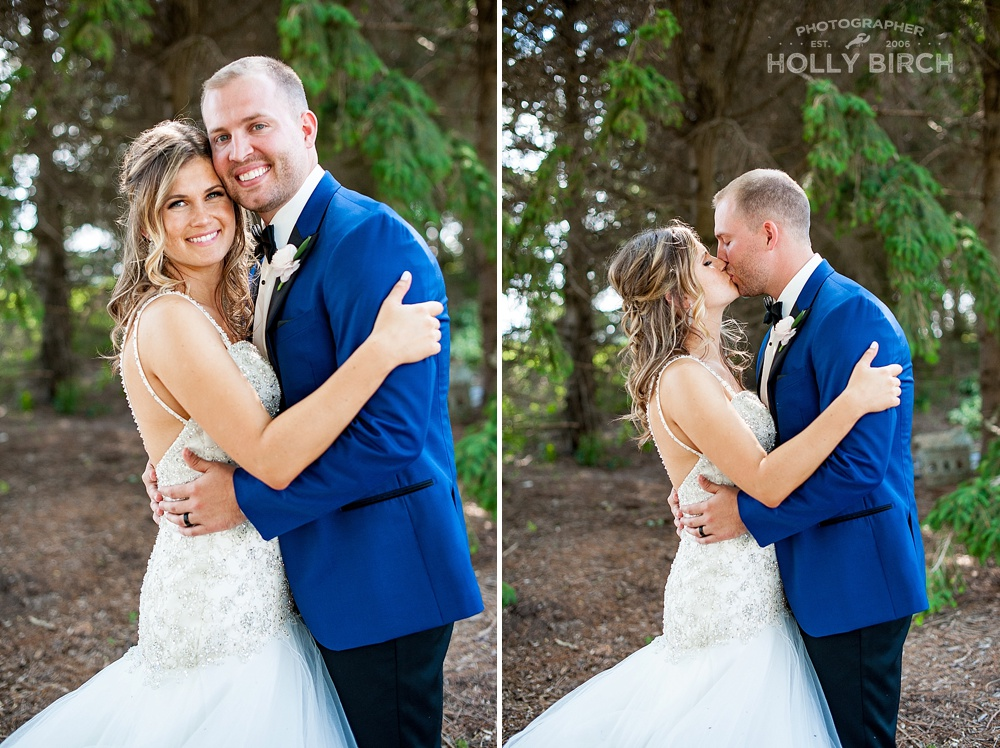 bride and groom with droopy evergreen trees