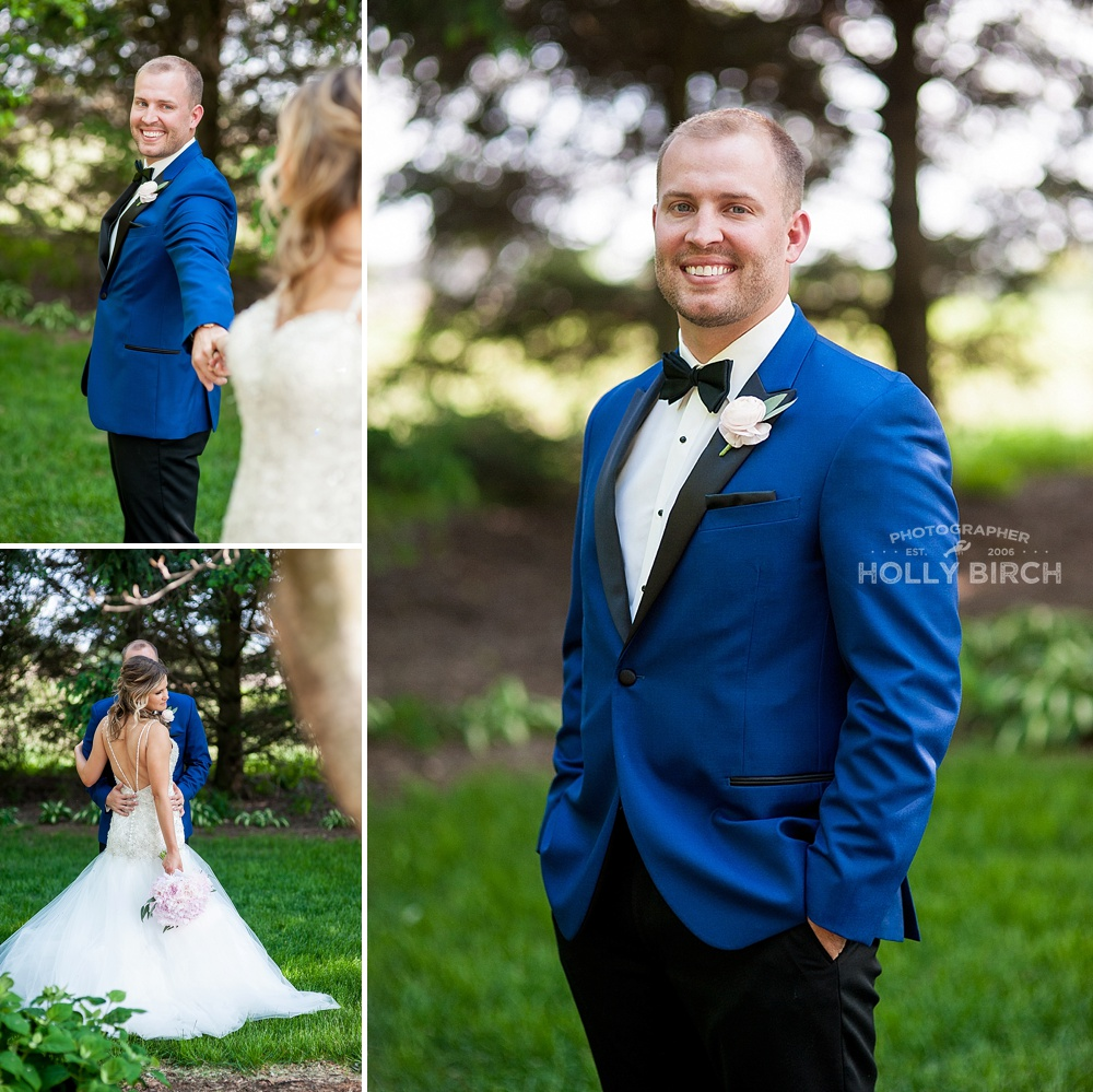 handsome groom in blue jacket