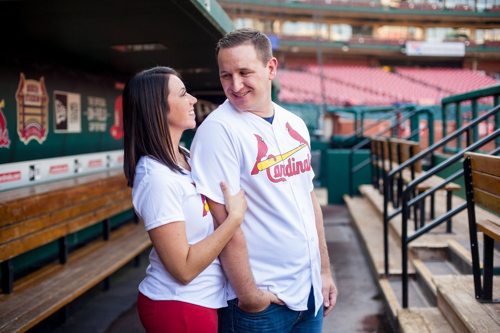 Busch Stadium Cardinals engagement photos