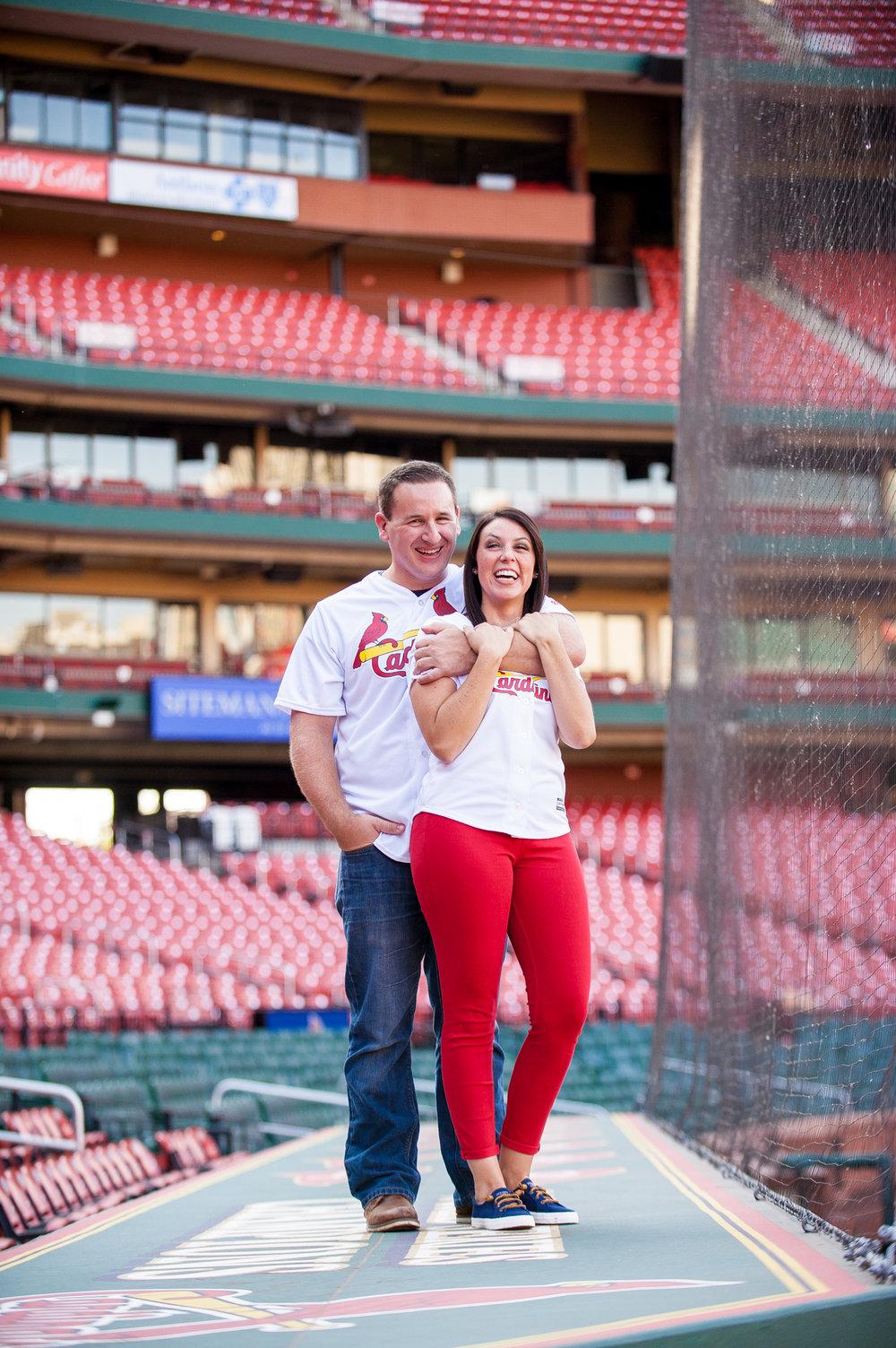 engagement photos at Busch Stadium