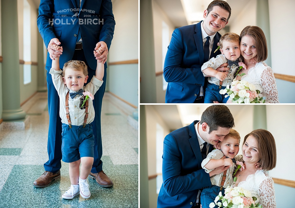 couple celebrating elopement with 2-year-old son