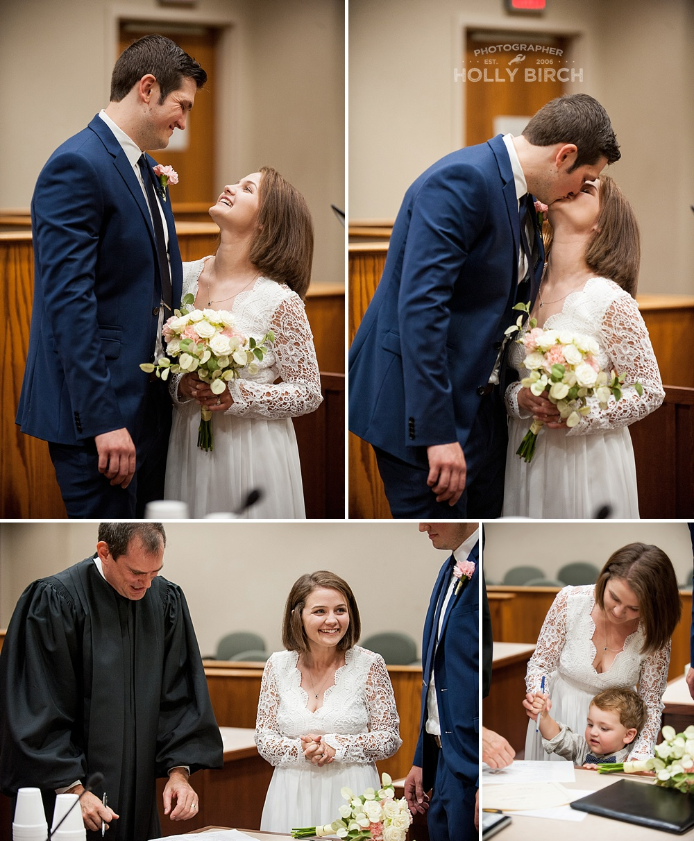 happy couple married at the courthouse