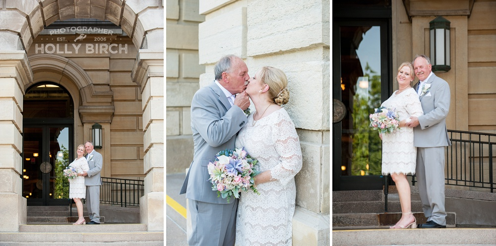 wedding couple posing on steps at Illinois Capitol
