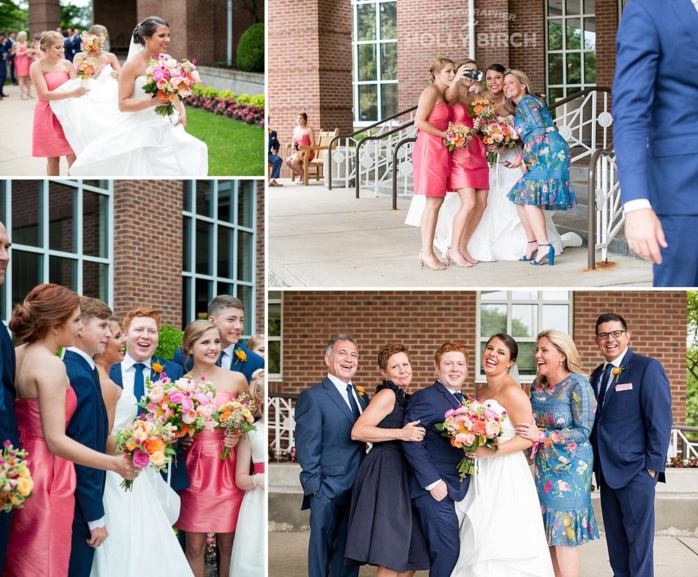 fun wedding party antics between photos