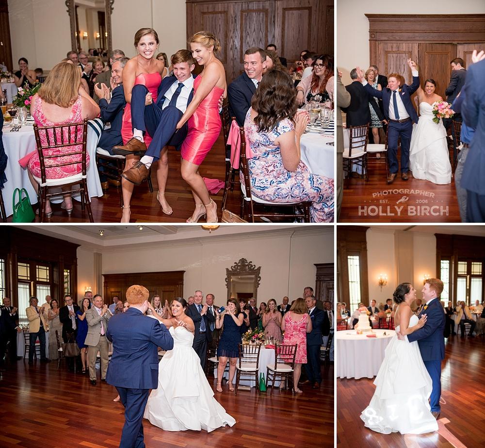 wedding party entrances into ballroom