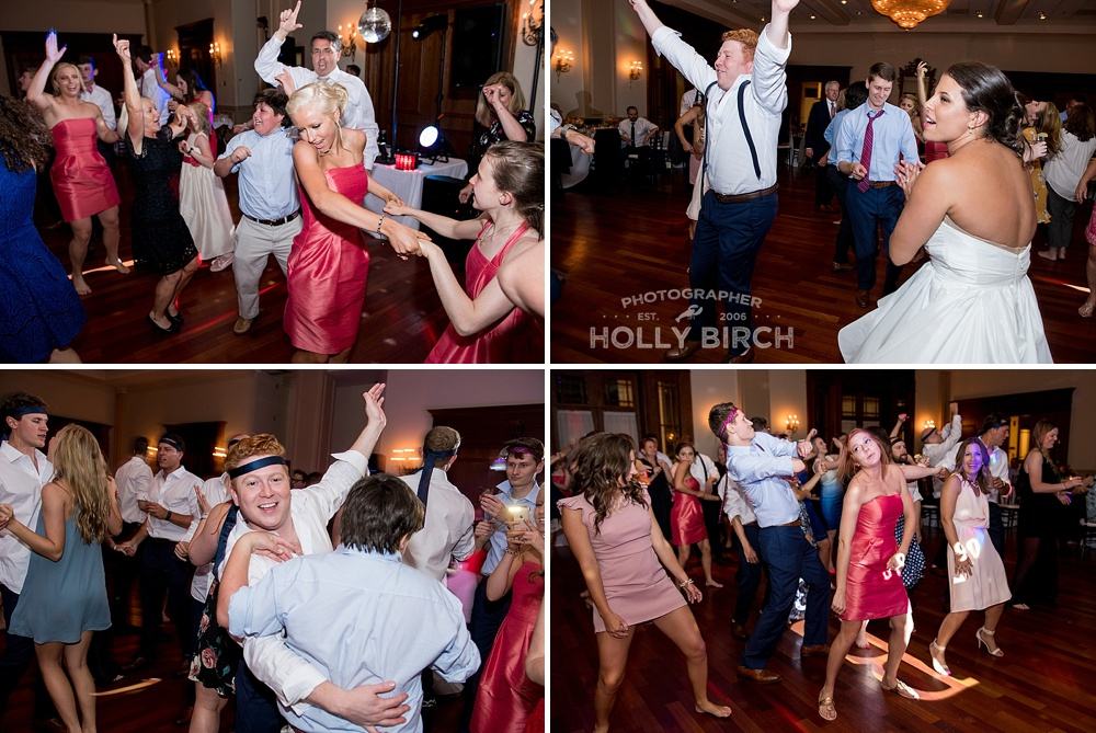 having a ball at Champaign Country Club wedding reception