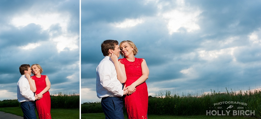 dusk cloudy skies engagement pics with OCF
