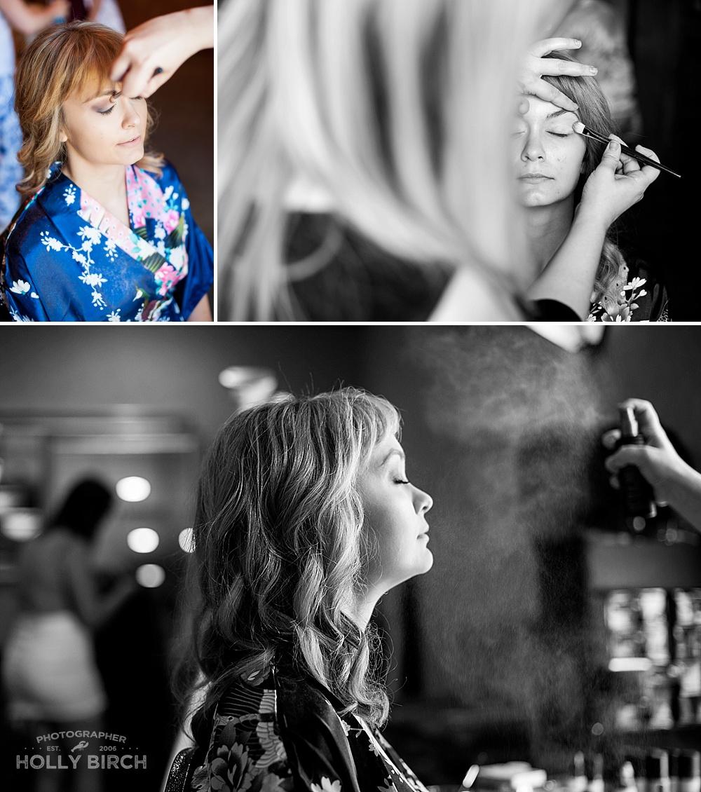 getting bridal makeup Timothy John Salon
