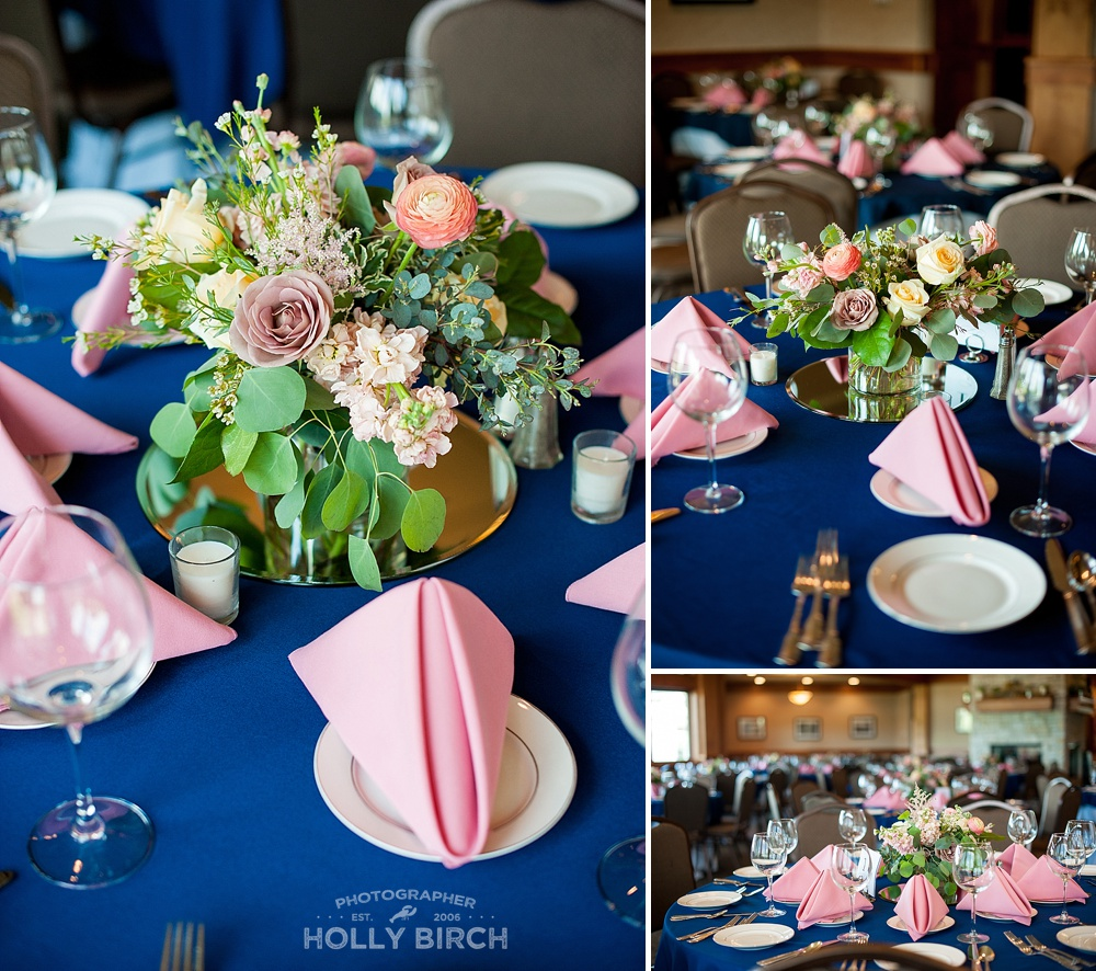 navy light pink wedding reception table decor