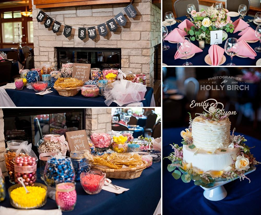 pink blue yellow candy bar wedding reception