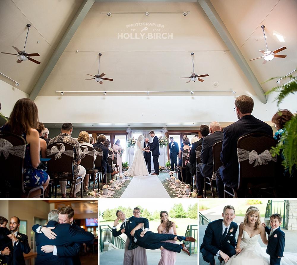 indoor wedding ceremony at Stone Creek golf club