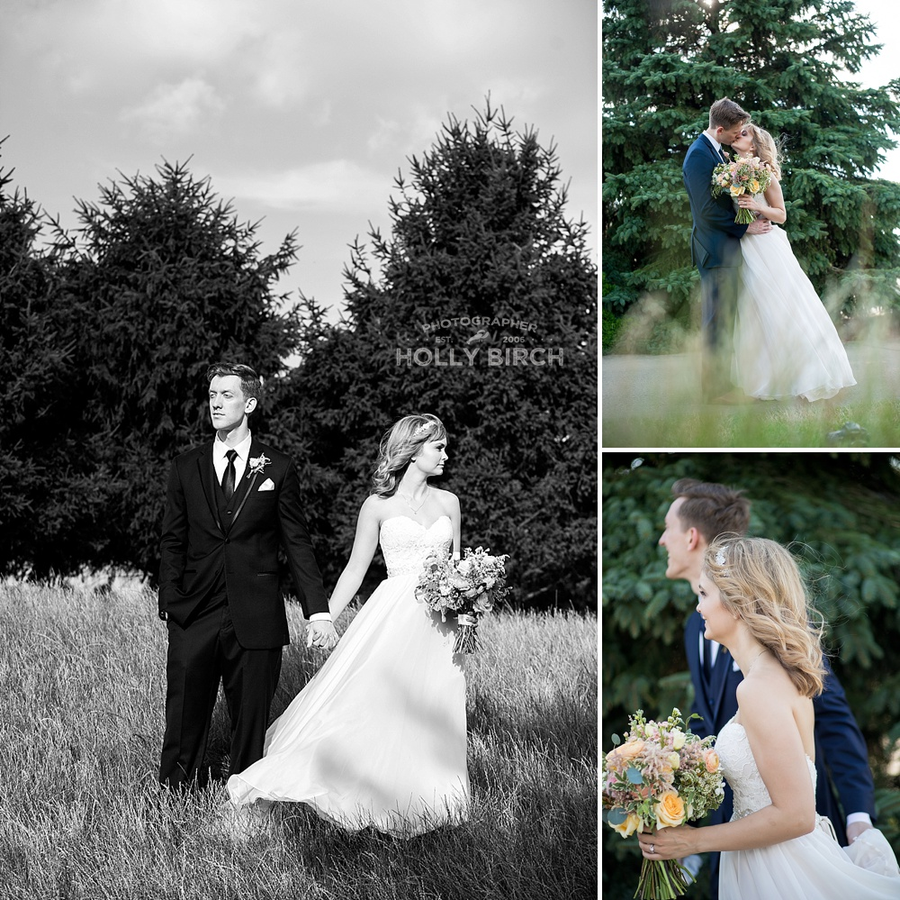 tall grass golf course wedding pictures