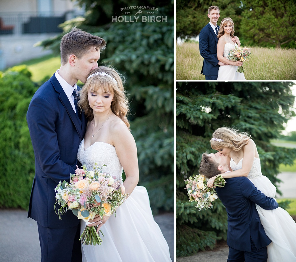 romantic wedding photos at Urbana golf course