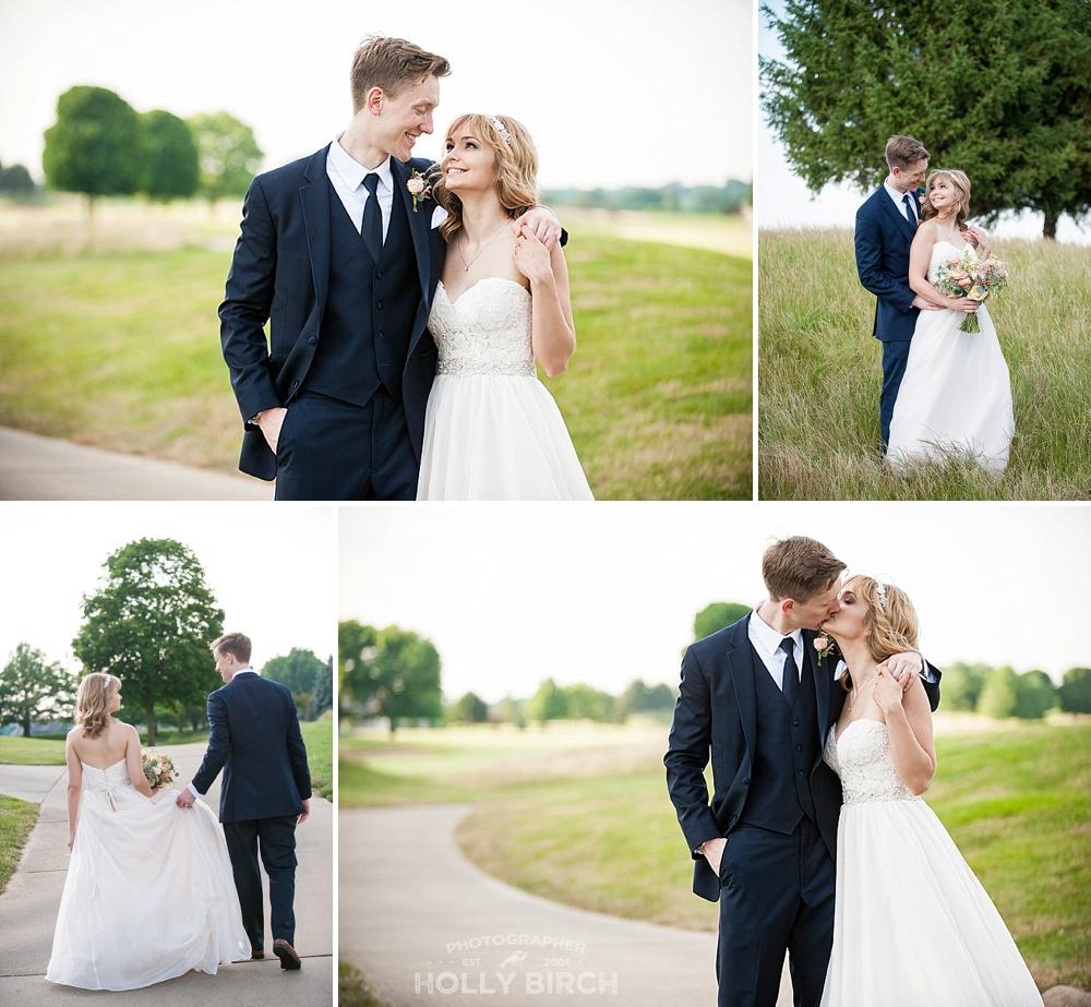green fairway wedding portraits with curvy sidewalk