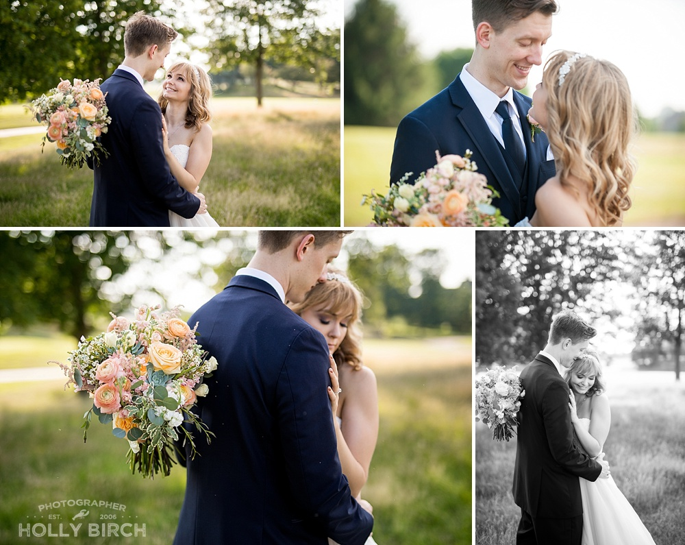 filtered sun through the trees wedding photos