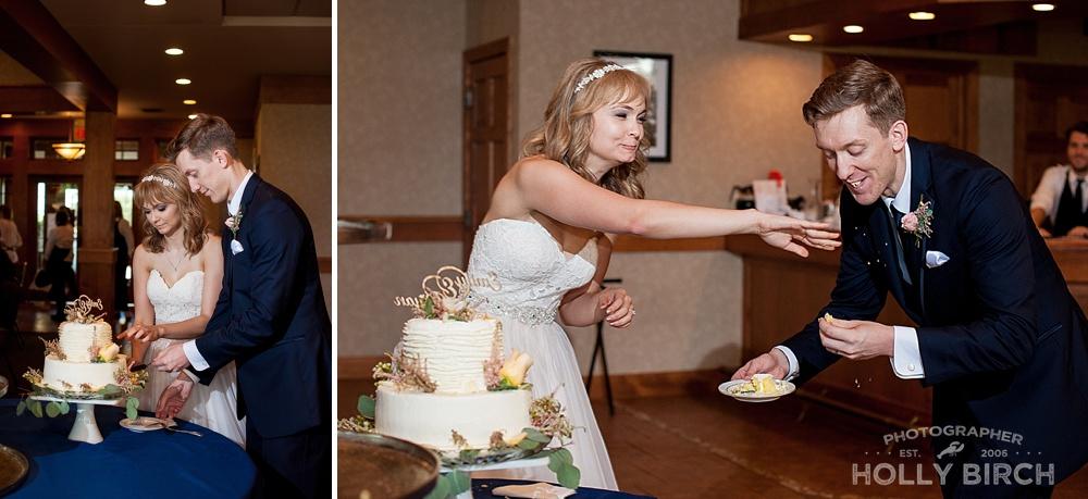 wedding cake feed with crumbs falling