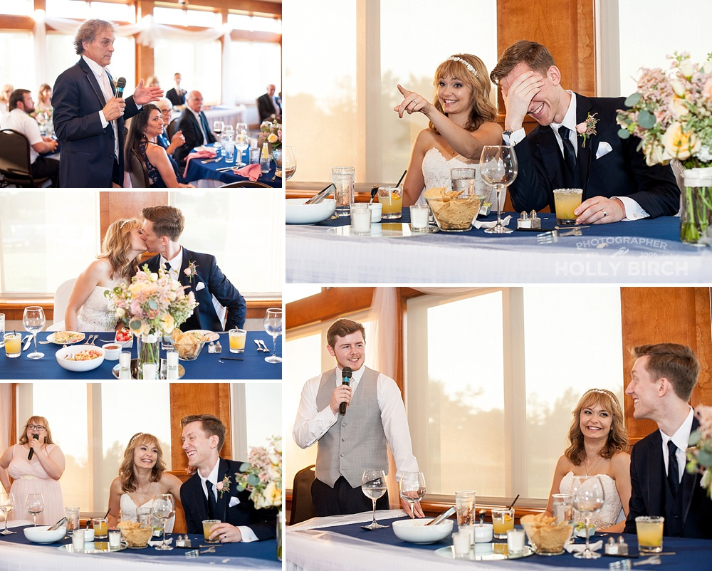 toasts and reactions from bride and groom