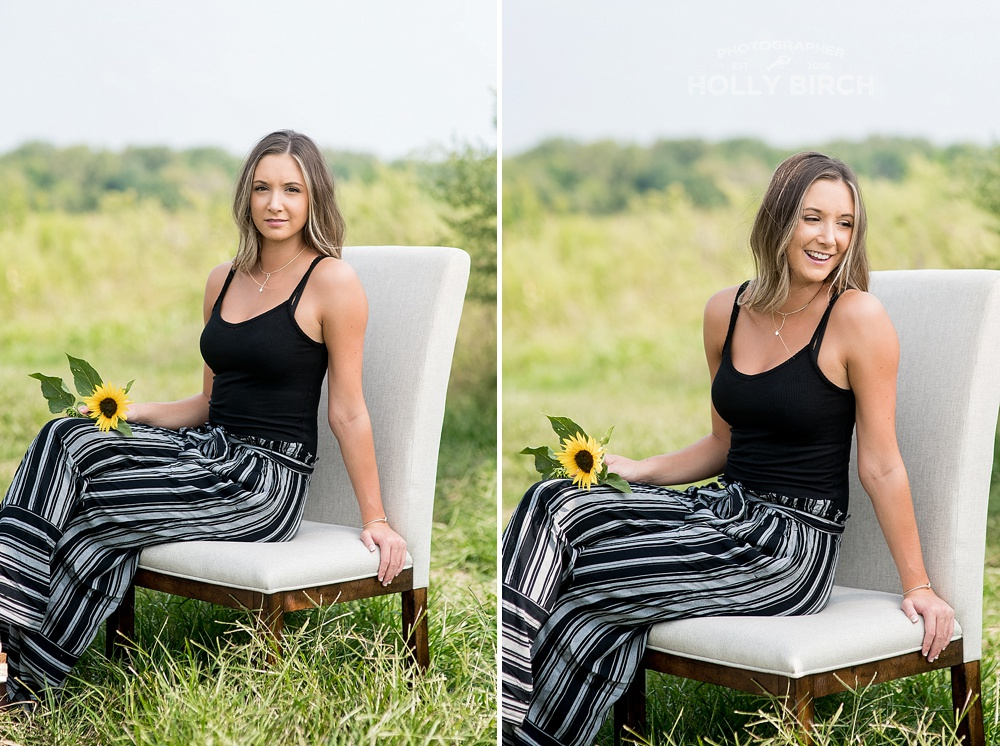 senior girl photos on chair in field