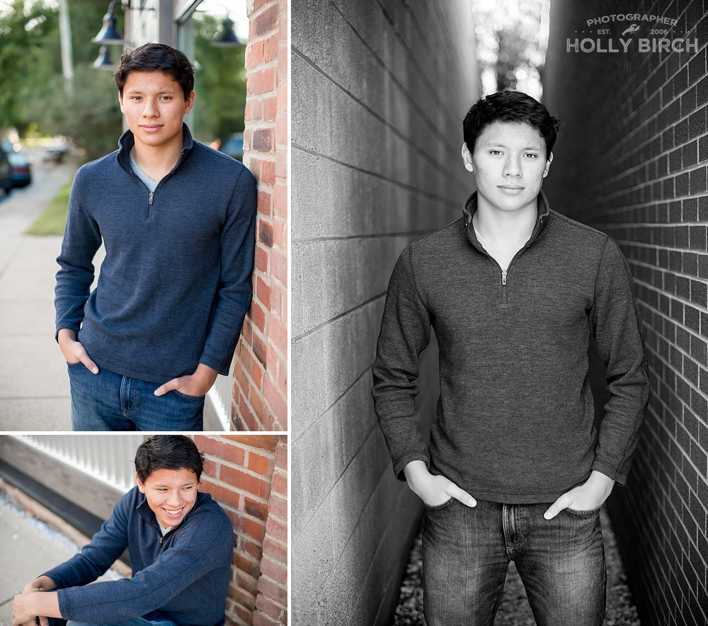 senior boy photos downtown Mahomet