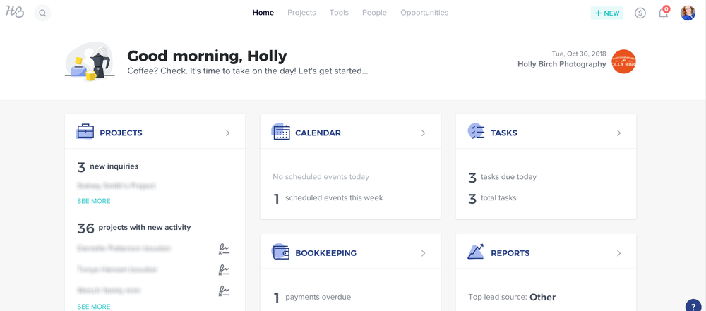 honeybook home task screen for client management