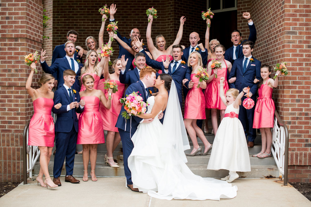 colorful wedding party photography