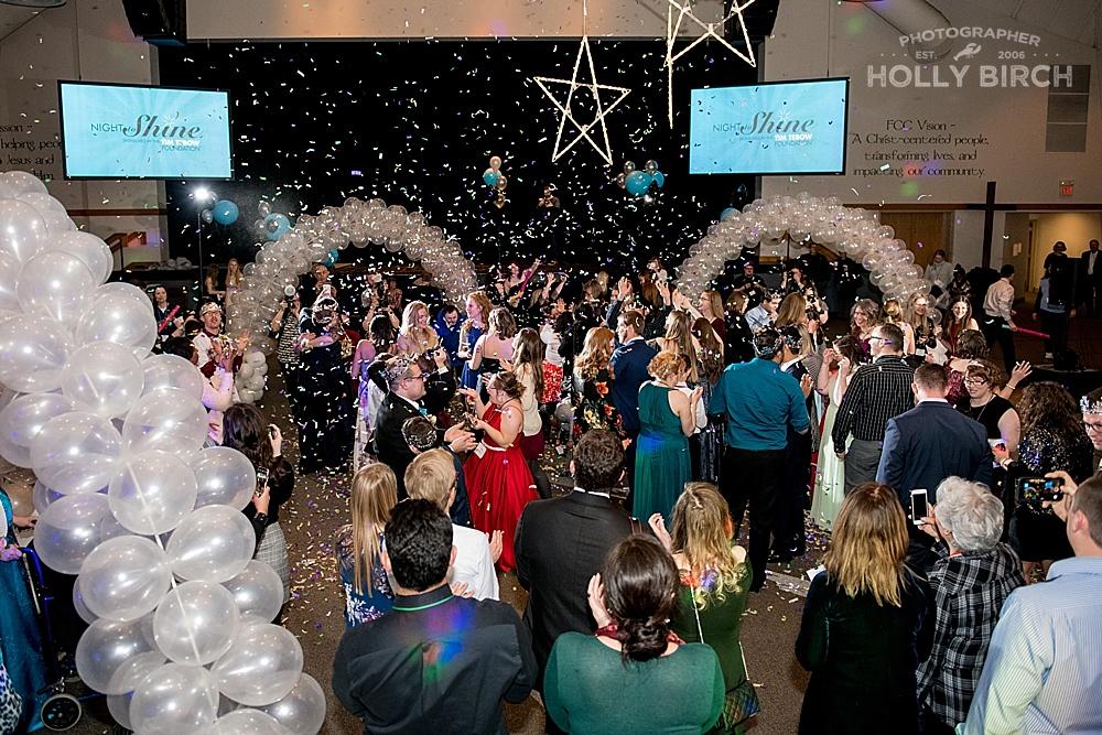 Confetti canons at 2019 Night to Shine Champaign