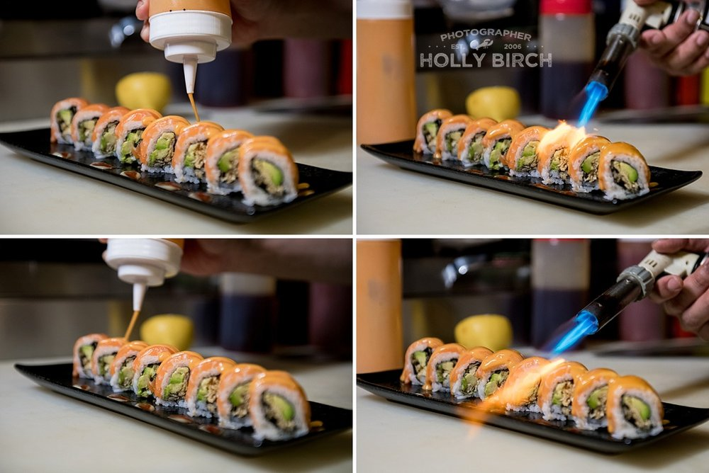 sushi roll sauce with kitchen torch