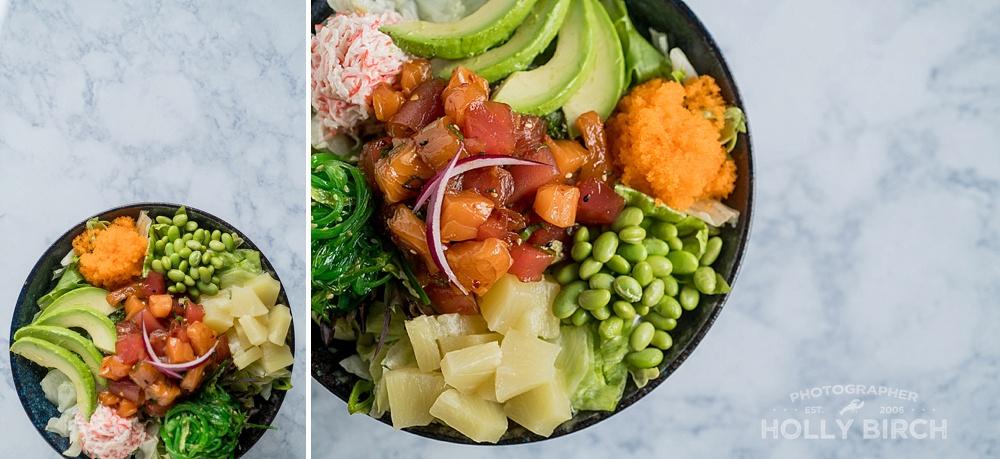 colorful poke bowl at Sushi Rock