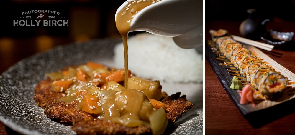 pouring sauce gravy over chicken dish with rice