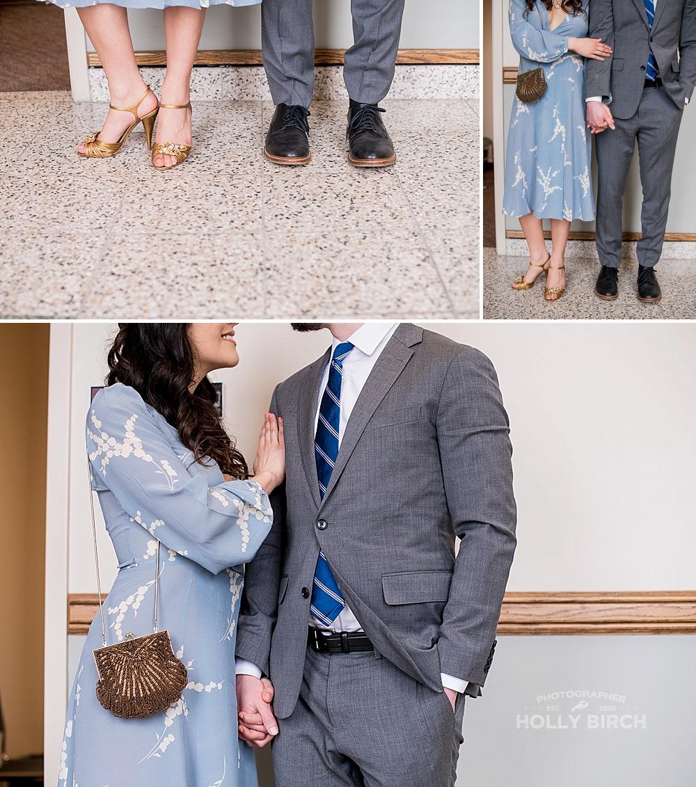 details at a romantic courthouse elopement