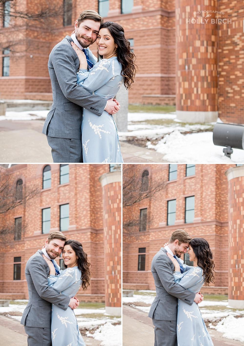 brick courthouse wedding portraits