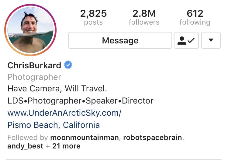Chris Burkard Instagram BIO example