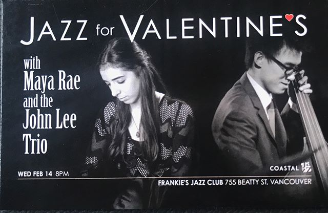 if you're needing some last minute plans on Valentine's day, come on down to @frankiesjazz to listen to some classic love songs played by the John Lee trio and myself!!! tickets are on the coastal jazz website, or dm me for the link :)💕💕