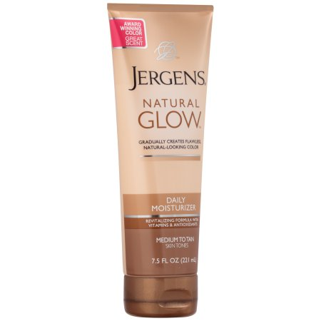 This was my go-to tanning product in high school when I couldn't afford weekly spray tans. It takes a couple days of application to see noticeable results, but it creates an even, natural looking tan and doesn't look orange!! It's less than $10 and you can find it at any major drugstore.  Tips: -  exfoliate/ shave before first application  -  wash hands afterwards  -  instead of applying to your face, buy the  Jergens face tanning lotion
