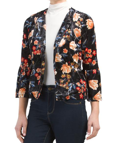 Floral Velvet Blazer - TjMaxx - Here for $19.99