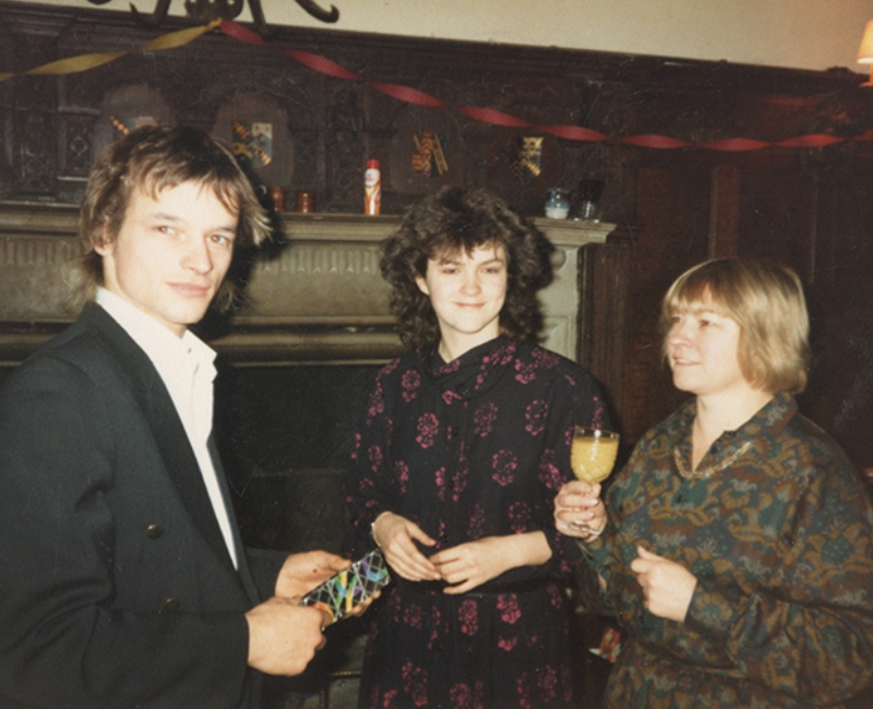 Caroline with her family in the Great Hall, Chawton House, 1985