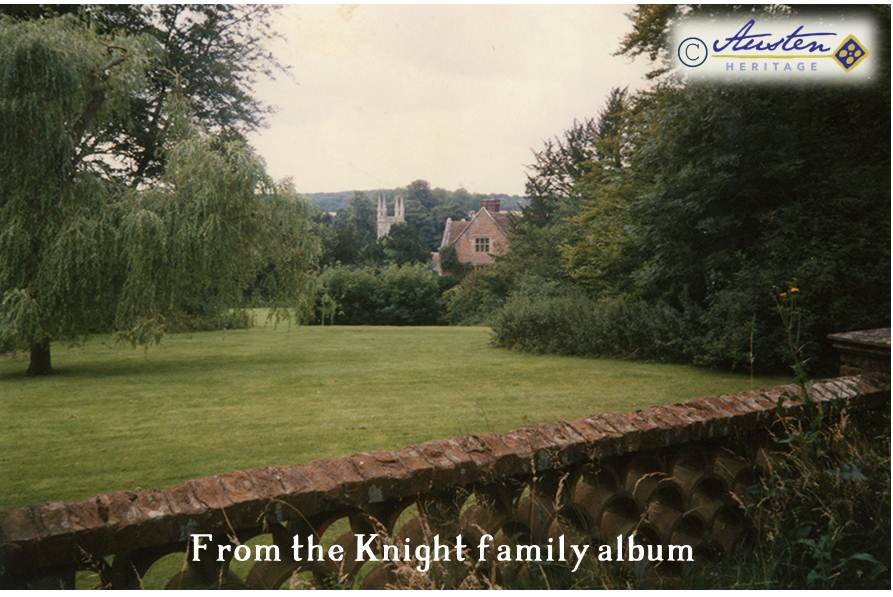 The view from the top terrace walk down the lawns to Chawton House and the church, 1987