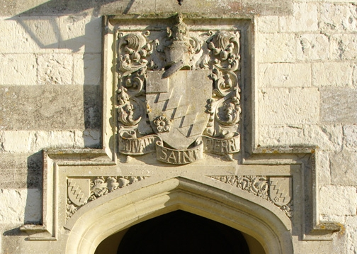 Knight family heraldry above the front entrance to Chawton Great House