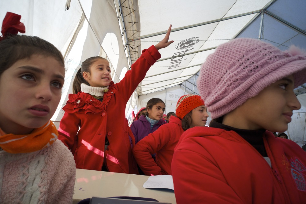 Temporary school run by UNICEF in Syria.  Photo credit: UNICEF