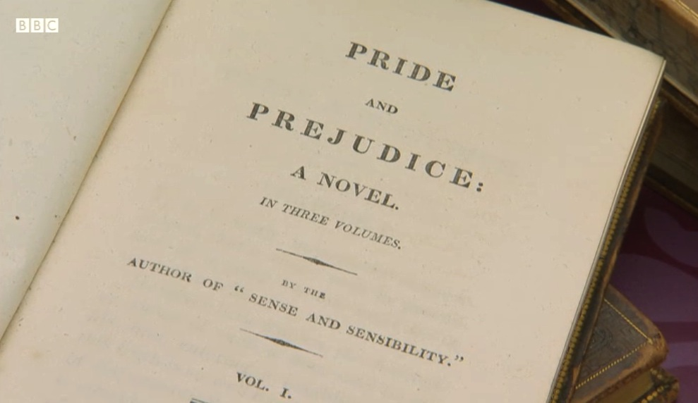 Pride & Prejudice  first edition.  Photo copyright BBC