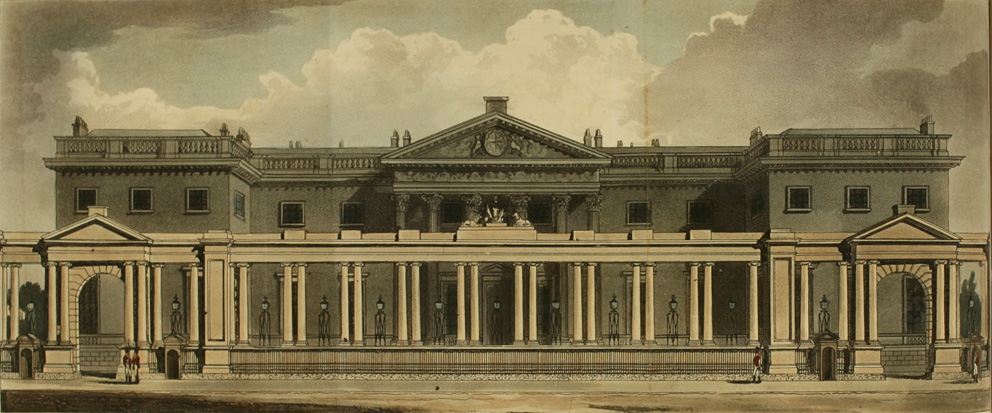 Carlton House, separated from Pall Mall by a 'screen'.  Image : Ackerman's Repository, 1811
