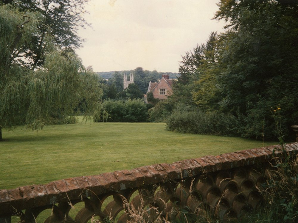 Top terrace at Chawton House, 1987.  Photo copyright Jeremy Knight