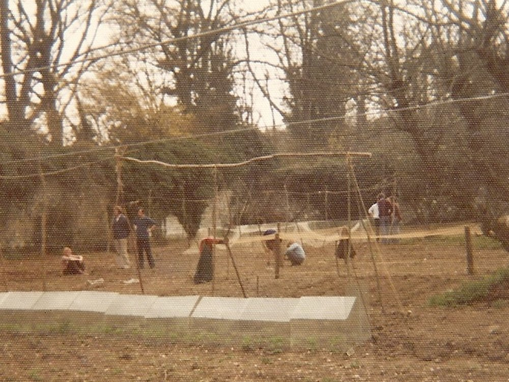 Planting crops in the walled garden at Chawton House, 1980s.  Photo copyright Jeremy Knight