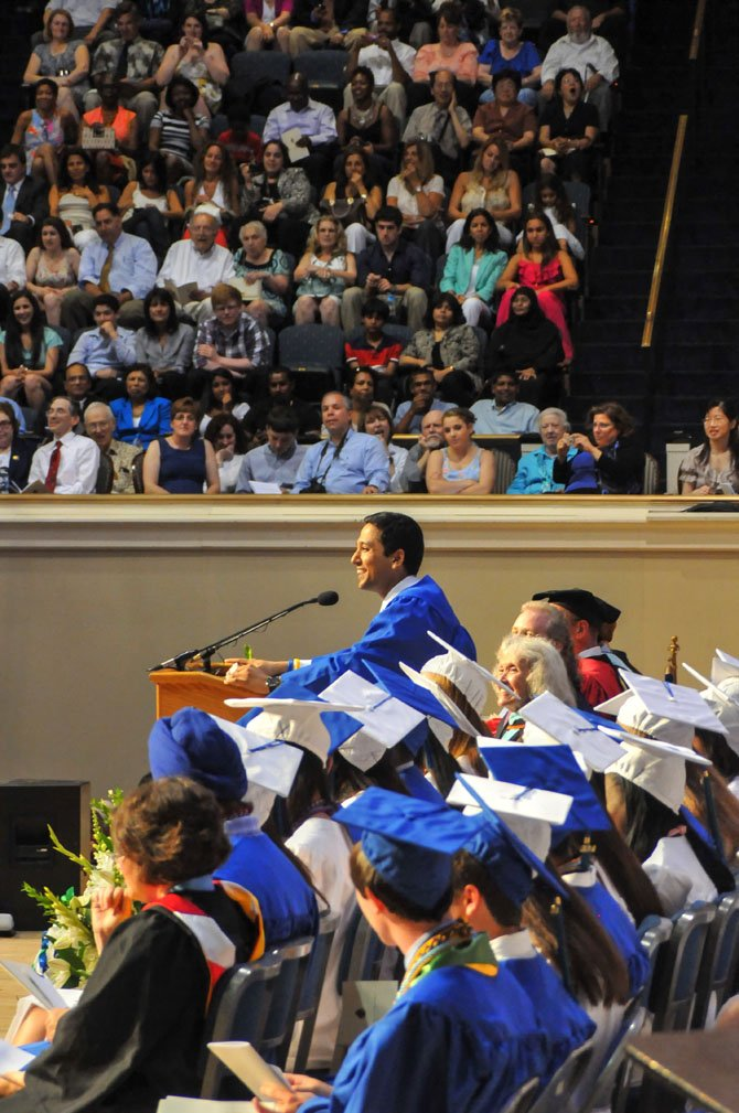 Ashwani Jain speaking at the 2014 Churchill High School Commencement.